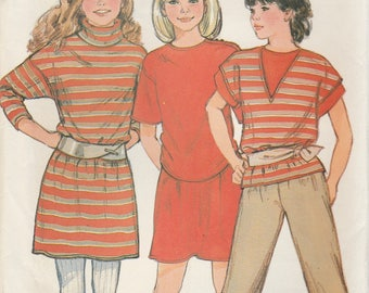 Girls Turtleneck Dress, T-Shirt, Pants & Skirt Pattern Butterick 6039 Sizes 7 8 10 Uncut