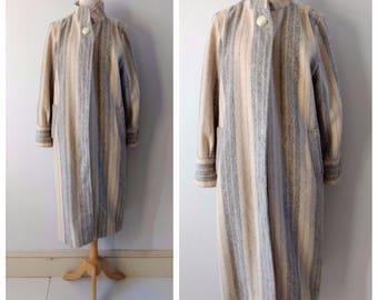 Vintage 1970s wool blanket coat, cream striped wool coat, medium / large