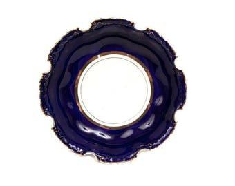Vintage Dresden Bowl Cobalt Blue Gold Cut Out Edges Art Nouveau Scalloped Cut Rim Serving Dish Hand Painted German