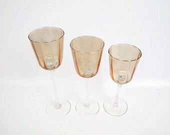 Vintage Amber Glass Candle Holders Long Stemmed Set of 3 Blown Glass Amber Hued Bowls Votive Candle Holders