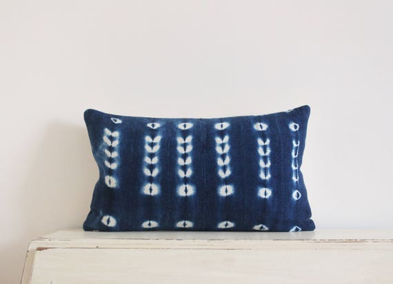 "Vintage indigo shibori African mudcloth pillow cushion cover 12"" x 20"""