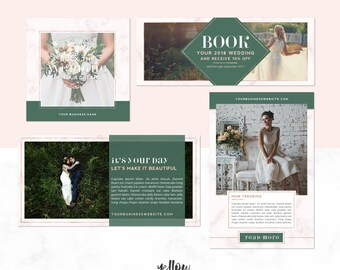 Social Media Templates - Facebook - Instagram - Pinterest - Twitter Templates - Photoshop Template - Social Media Banner Pack - Rose Gold
