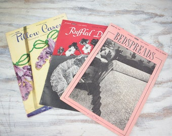 Coats and Clark Vintage Crochet Pattern books, Bead spreads, Ruffled Doilies and Pillow Cases (set of 3 pattern books)