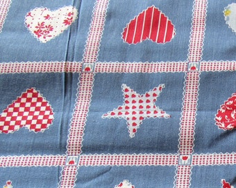 red and blue stars and hearts print vintage cotton fabric -- 44 wide by 4 yards