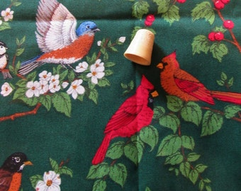 winter birds christmas print cotton vintage fabric -- 44 wide by the yard