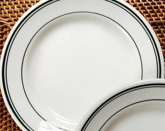 Restaurant Bread Plates with Classic Triple Green Stripe, Homer Laughlin HLC Best China  ca. 1960s