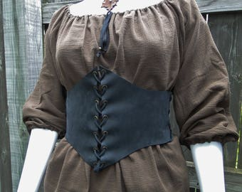 Leather Waist Belt, Women's Renaissance Corset, Medieval Waist Cincher Wide Belt, Choose Your Size - Black