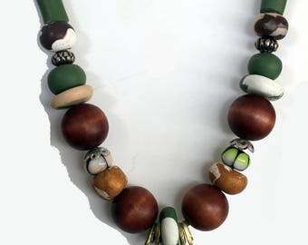 Handmade  Necklace  Brass Wire, Beads, Fine 980 Silver Lampwork Beads Fimo & Wood Beads Leather