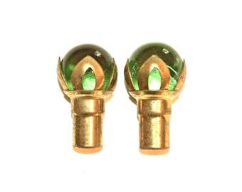 Pair Emerald Green Glass Ball Finials Vintage 1950s Brass Ferrules