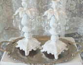 "White Candleholders Vintage Set/2 Crystals 11""H Wedding Romantic Shabby Cottage French Chic Hollywood Regency Ornate Elegant Candlesticks"
