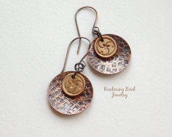 Mixed Metal Earrings with Celtic Symbol Triskelion Golden Bronze Drop, Hammered Copper, Triple Spiral, Artisan Metalwork Jewelry
