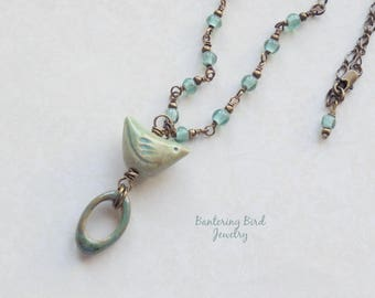 Ceramic Bird Pendant on Simple Blue Green Necklace, Rosary Wrapped Indonesian Glass Beads, Brass Chain Layering Necklace, Fall Jewelry
