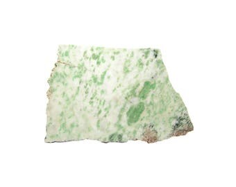 Green and White Stone Cutting Rough, Lapidary Rock Slice from an estate collection