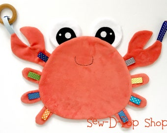 Crab baby boy blanket lovey play sensory teething toy sea buddy