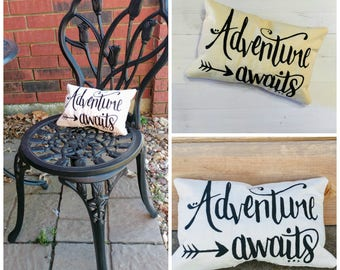 Adventure Awaits Inspirational message decorative pillow- unique gifts for him or her