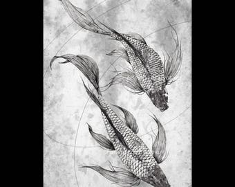 Japanese Butterfly Koi - gyotaku giclee print - traditional Japanese fish art