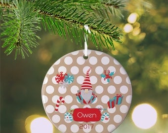 Personalized Kids Ornament - Christmas Gnomes Gifts Candy Cane Beige Polka Dots , Children Christmas Ceramic Circle Heart Snowflake Star