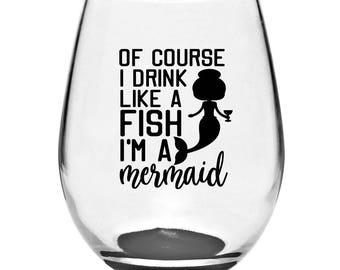 Mermaid Stemless Wine Glass | Mermaid Wine Glass | Stemless Glass | Stemless Wine Glass | Drink Like A Fish | Wine Gifts | Mermaid Gifts