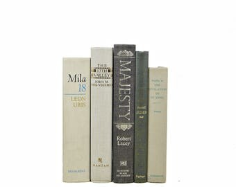 Gray BOoks, Antique Decorative books, Taupe Grey Book Collection, Old Book Decor Instant Library, Beige Book Bundle, Vintage Book Set