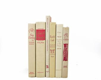 Antique Beige Decorative Books, Book Set, Old Book Decor, Wedding Centerpiece, White BOok Collection, Red Book stack