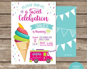 Ice Cream Invite with optional thank you card - printable or printed options - Lovely Little Party