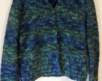 Vintage Lord & Taylor Blue Turquoise Wool Blend Coat Jacket Medium