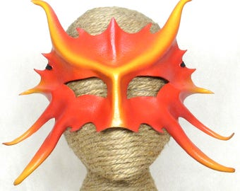 Leather Dragon Mask, Horned Red and Yellow Leather Art Eyemask, Simple Firedrake Costume Piece, Dragonet Halfmask (M197)
