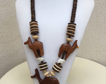 Vintage wood bead chunky necklace African safari style animals