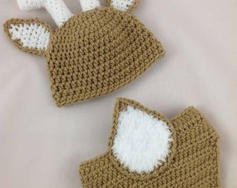 Baby Deer Outfit - Baby Deer Hat - Baby Deer Nursery - Woodland Baby Shower - Newborn Deer Outfit - Crochet Deer Hat - Deer Baby Shower