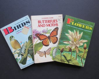Vintage Golden Guides Set // Golden Nature Guide Book Small Paperback Wildflowers, Butterflies, Birds Handbooks Nature Lover Gift Idea
