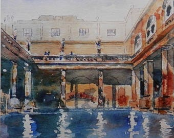 10 Roman Baths greetings cards from an original watercolour by John Menage size appro. 15cm x 15cm