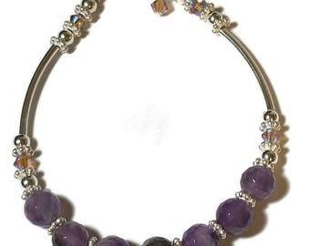 Amethyst Gemstone ,Beaded Bracelet, with Swarovski Crystal ,and Sterling Silver Beads, Gemstone Bracelet, Simple Bracelet ,Jewelry