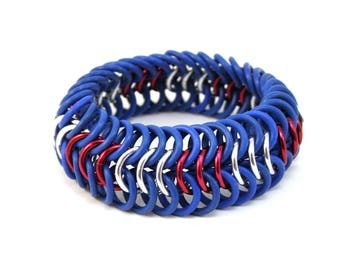 Patriotic Cuff Bracelet - Blue Red White Wide Metal Rubber Chainmail Stretch Bracelet for Men Women
