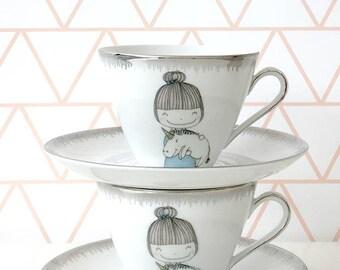 Vintage printed unicorn Coffee / Tea Cups