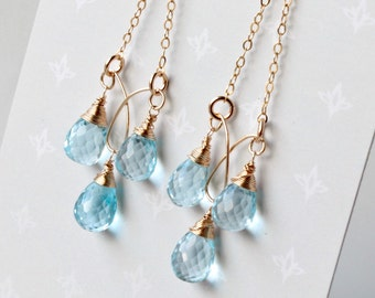 Blue Topaz Chandelier Earrings, 14kt Goldfilled wire wrapped light blue gemstone, boho luxe chain chandeliers, holiday gift for her, 4454