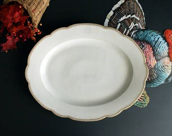 Vintage Large Serving Platter White Porcelain Oval WIth Scalloped Edge and Gold Trim By M.F. & Co Limoges France Pattern MFC3 Marshall Field