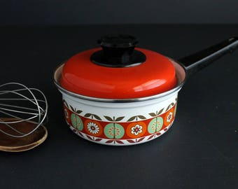 Vintage Enamelware Sauce Pan With Lid Retro Floral Design Small Covered Pot Orange and White Enamel