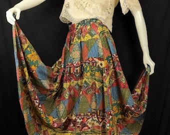 Tiered silk skirt Earthy southwestern print maxi skirt Vintage grunge clothing Full circle geometric long skirt Gypsy Boho summer skirt M L