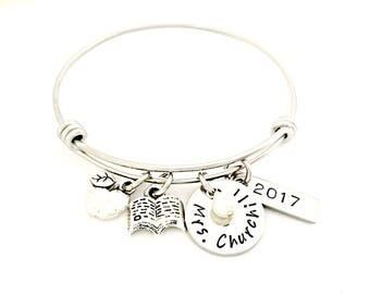 Teacher Bracelet - Teach Love Inspire - Personalized End of the Year Teacher Gift, Instructor Appreciation - Custom Expandable Bangle Gift