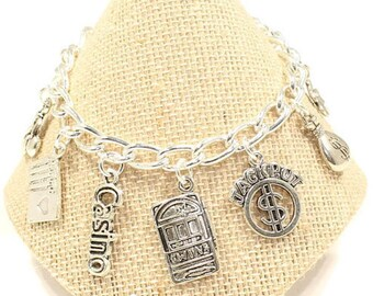 Gambling Charm Bracelet Casino Bracelet Good Luck Jewelry Lucky Charm Bracelet Love to Gamble Gift Love Slots Cards Jewelry Card Group B194
