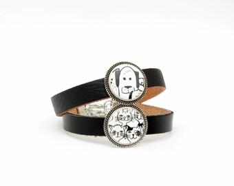 Katzen Armband oder Hund - Armband, handgefertigt, Lederarmband, Schiebeperle, größenverstellbar