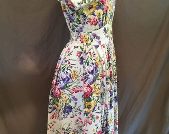 Plus Size 80's Vintage Floral Yoke Waist Dress