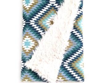 Baby Blanket Aztec Blue. The Cloud Blanket. Faux Fur Baby Blanket. Minky Baby Blanket. Navy Kilim Baby Blanket.