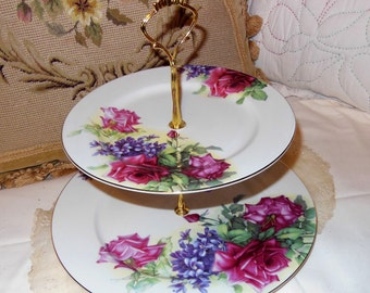 Vintage, Two Tiered, Cake Stand, Fine Bone China, Large Roses, Purple Lilacs, Tabletop, decoration, Cottage Chic, Romantic