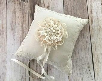 Ring bearer pillow, linen and lace wedding ring bearer pillow.