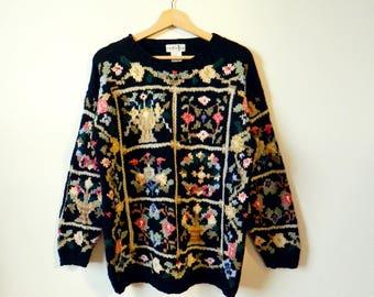 Black Forest Wildflower Sweater / Vintage Slouchy Floral Sweater / 80s Dark Bouquet Sweater