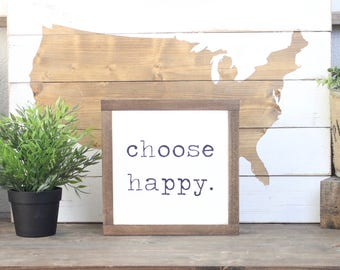 Choose Happy Wood Sign, Farmhouse Sign, Rustic Home Decor,  Inspirational Decor, Wood Wall Art, Family Sign, Mini Sign