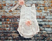 Blush Boho Chic Floral Lace Romper & Headband. Newborn Baby Girl Coming Home Outfit, 1st Birthday, Summer Set, Baby Shower Gift, Flower Girl