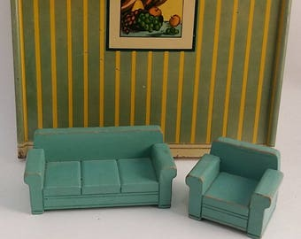 Vintage Wood Dollhouse Living Room Furniture -- Strombecker Green Midcentury Couch / Sofa and Chair, 1950s - 1960s, For Play or Display