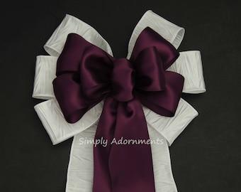 Aubergine Purple White Wedding Pew Bows White and Purple Wedding Ceremony Chair Bow Eggplant Church Aisle Bow Purple white Party decoration
